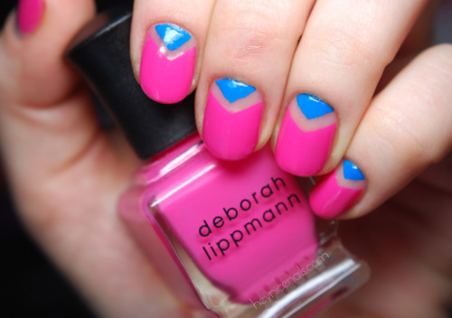 "heynicenails:  This is a simple ""V"" mani using Deborah Lippmann Pop Life and CND Anchor Blue"