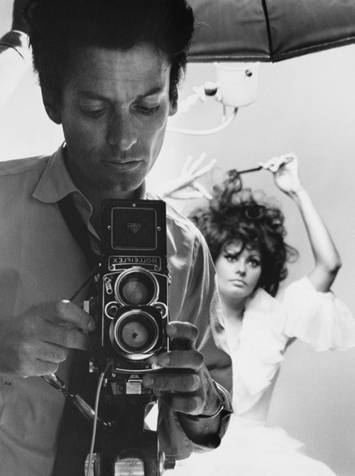 theswingingsixties:  Richard Avedon and Sophia Loren at a photoshoot in New York City, 1966.