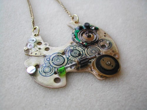 whocrafts:  Tardis Console Steampunk Necklace (submitted by Fallon)
