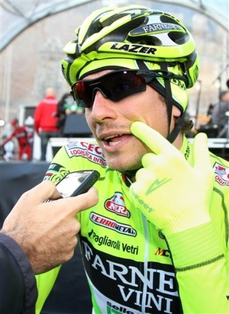 2012 Ronde van Vlaanderen: Has Pippo threatened to regrow the Pippostache until he wins another race or until *le dramatic gulp* outsprints Tommeke? He did not say so to Cyclingnews but he may as well have.(Credit: AP Photo via News.daylife.com)