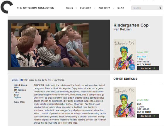 Criterion announce a Kindergarten Cop reedition on Blu-Ray.