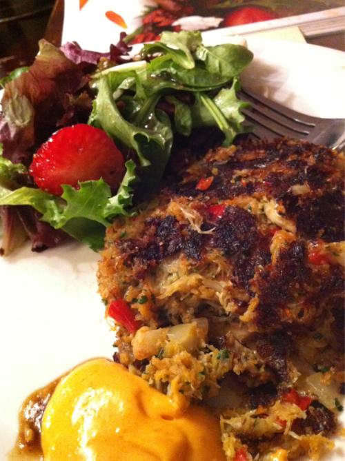 Dinner :) homemade west coast crab cakes and spring greens with maple balsamic vinaigrette