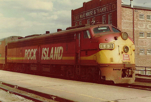 Rock Island #663 at Joliet, IL. May 1975.