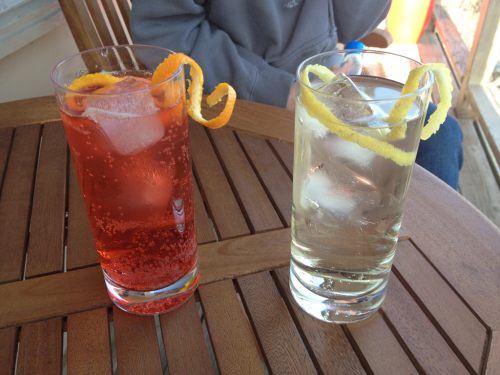 France v. Italy: a Lillet Blanc & soda with a Campari and soda. Afternoon refreshment.