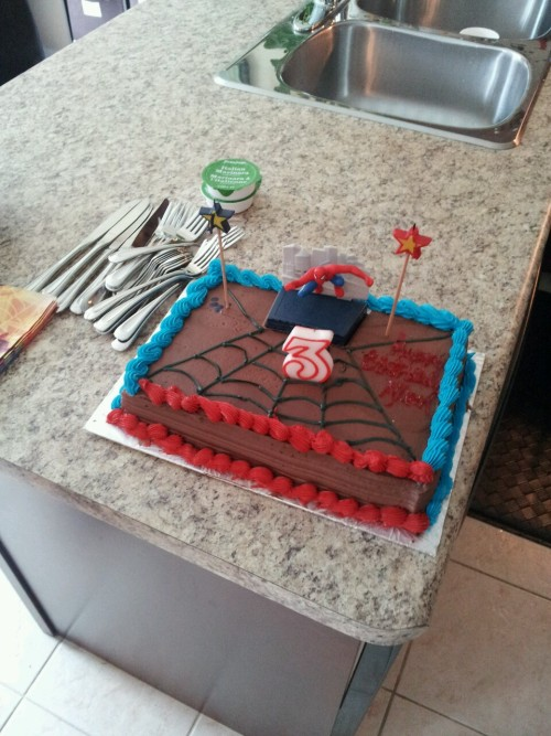 My son's spider man cake for his third birthday