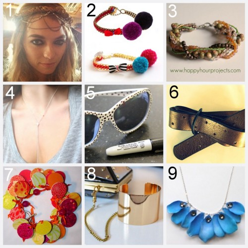 Nine DIY Jewelry and Fashion Tutorials PART 3. Roundup of this past week March 25th - March 31st, 2012.  DIY Flower Crown and the Flower Crown's Evil Twin (Threadsence) here. DIY Les Nereides Pom Pom Bracelet (Small Good Things) here. DIY twisted Beaded Bracelet (Happy Hour Projects) here. DIY rosie huntington-whiteley necklace (Dream, Create) here. Four DIY Sunglasses Tutorials here. DIY Perforated Belt (wobisobi) here. DIY Mod Podge Ribbon Paper Charm Bracelet (Vitamin C) here. DIY Inspired Louis Vuitton Lockit Clutch with Detachable Cuff (A Matter of Style) here. DIY Lanvin Ribbon and Pearl Drop Inspried Necklace (Studs and Pearls) here.