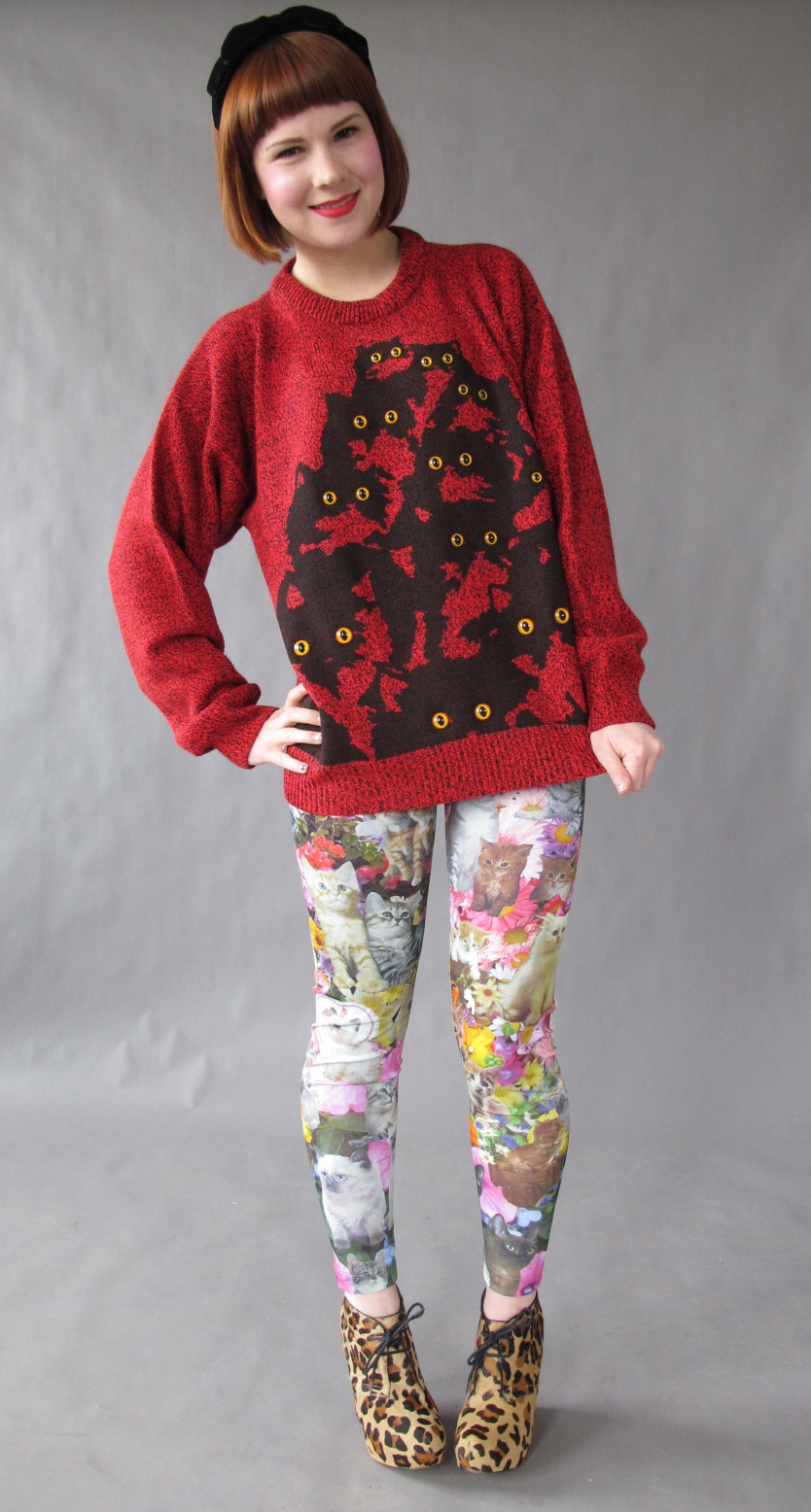 red crazy cat jumper @ pretty snake!
