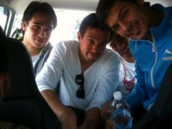 gierfriends:  misagh bahadoran ‏ @misagh_9 With @jyh7 @robdazogier2 @neil38etheridge trying to fit in taxi hahaha  —haha! better late than never misagh! :)))