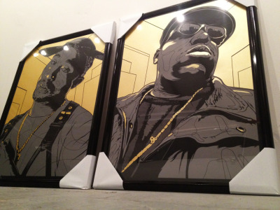 "Biggie & Tupac 18x24"" screen print Edition of 100 ea. Artist: Joshua Budich Blunt Graffix Presents DEAD ROCKSTARS 04.06.2012 SPOKE ART 2318 Telegraph Ave, Oakland, CA www.bluntgraffix.com"