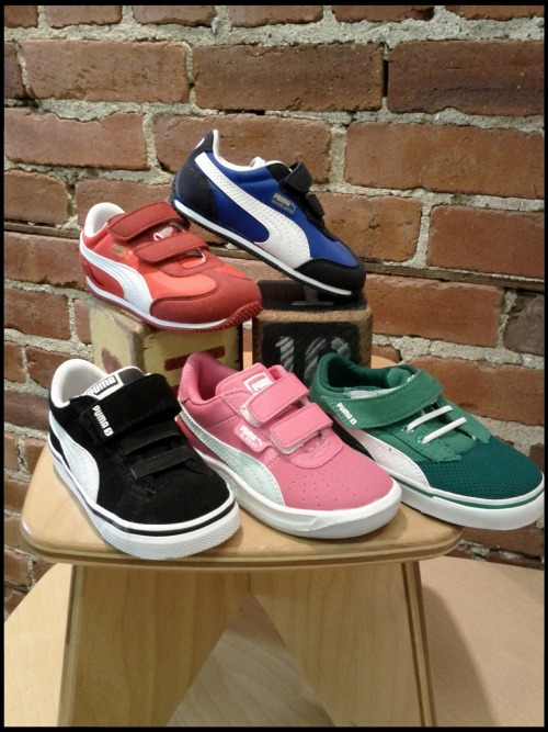 PUMA! These shoes for kids are durable, comfortable, and super cool…sizes Toddler 5 to Youth 2…