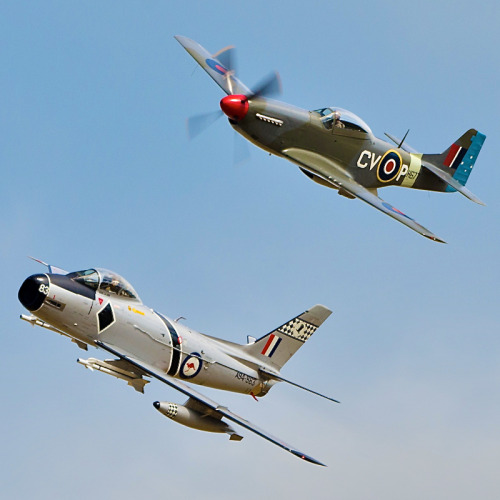 RAAF North American P-51 Mustang (3 Squadron markings) and CAC Avon Sabre (75 Squadron 'Black Diamonds')