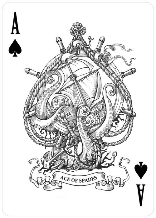 "Nautically Victorian ace of spades design. Looks like an octopus (do technically ""arms"", not ""tentacles"")."