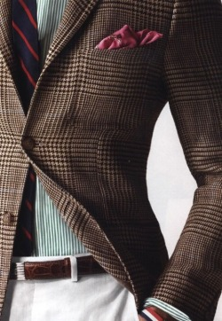 Tweed Jacket, Pink Handkerchief