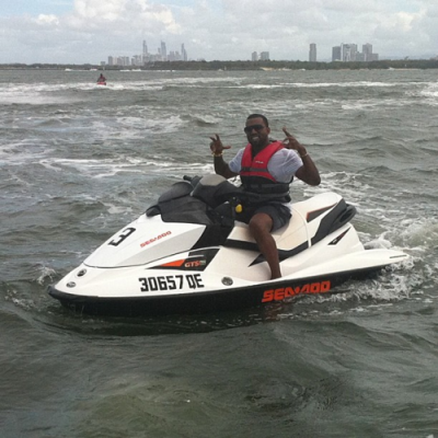 Kanye West on a SeaDoo