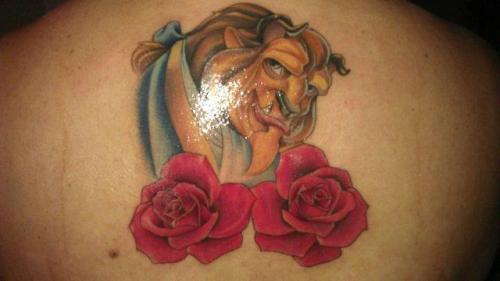 Beauty and the Beast…The Beast tattoo done by Jeronimo Rivera @ Fast Lane in Corona. Still need to go back for shading but love my first tattoo!