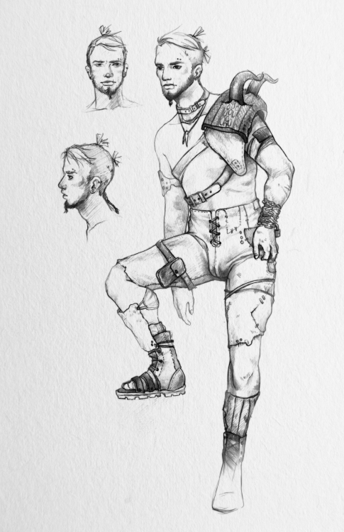 Yay! Character Design Sheet 2. Wasteland Raider dude. I didn't like my last approach to my character design sheet so I did it slightly differently this time. Whatchya think? Please let me know. :)