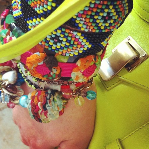 2days #armparty is all about #neon #tribal 2 go with my #limegreen #ps1 ! In my arms 2 #missoni vintage #cuff & #charmbracelet  (Taken with instagram)