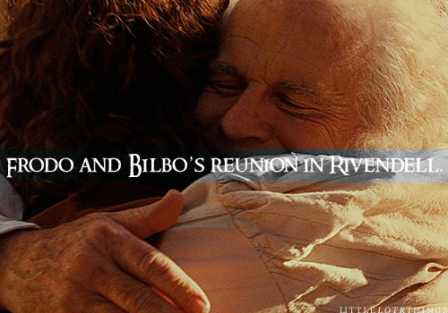 Frodo and Bilbo's reunion in Rivendell.