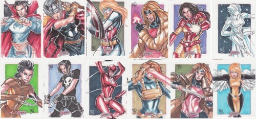 northstarfan:  Rule 63'd Marvel Heroes (Marvel Dangerous Divas) by Kathryn Layno.  She's currently selling off her artist's proofs of these and other of her sketch cards. More details at her journal.