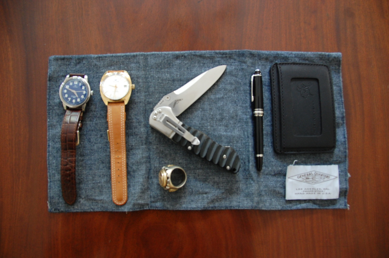"3 of 3: The ""Anytime I'm Wearing a Jacket"" Every Day Carry: 1960's Omega Seamaster Watch or… 1960 Waltham Watch Co automatic Knife: Benchmade Osborn design Mont Blanc Chopin fountain pen Wallet: Saddleback Leather Co."