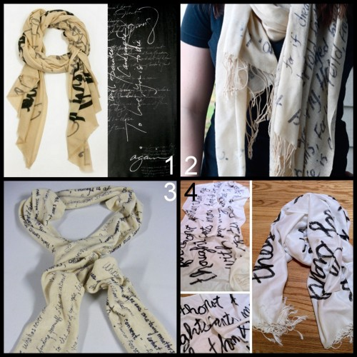 "truebluemeandyou:  Three DIY We Are Owls ""Poem Ivory"" Knockoff Scarf Tutorials. All of these tutorials use different fabrics and pens. *Be inspired by the dark ""Spring Poem"" and use a bleach pen. Photos and Tutorials: We Are Owls FW 2010 Collection ""Poem Ivory"" here (left),SS 2012 $175 ""Spring Poem"" here and here (right). Tutorial from College Fashion here.  Tutorial from Off the Wall Expressions here. Tutorial from Stamp 48 here."