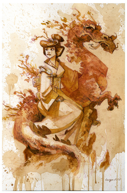 "An original watercolor by Brian Kesinger also available (see below).  Brian recently won a prestigious Annie award for his storyboard work on Disney's ""Prep and Landing"".  He was one of the more engaged artists who went out of his way to help make this art auction a success.  He has worked on many great films including Tarzan, Tangled, Winnie The Pooh, Atlantis…I really like this piece he has donated for the cause.  -Waveybrain"