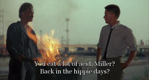 """You eat a lot of acid, Miller? Back in the hippie days?"" Repo Man (1984) directed by Alex Cox, starring Emilio Estevez and Harry Dean Stanton. Also starring Tracey Walter, Olivia Barash, Sy Richardson, Susan Barnes, Fox Harris, Tom Finnegan,  Del Zamora, Eddie Velez, Zander Schloss, Jennifer Balgobin, Dick Rude, Miguel Sandoval, Vonetta McGee, Richard Foronjy, the Circle Jerks and Samuel T. Cohen, inventor of the neutron bomb"