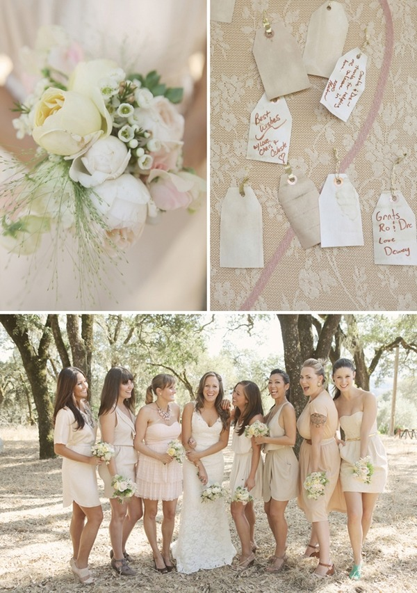 neutral toned bridesmaids dresses