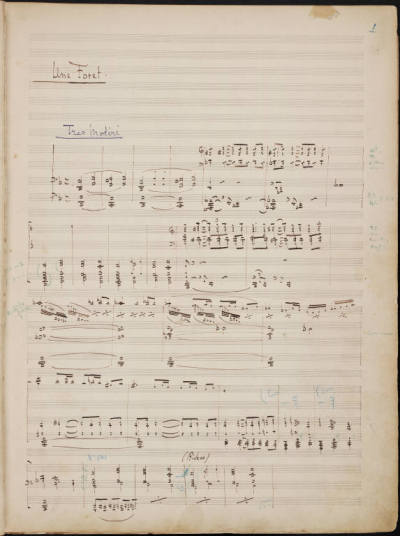 "Manuscript in short score: Debussy, Pelléas et Mélisande, Act I, Sc. 1. (Beinecke Rare Book and Manuscript Coll., Yale Univ.) I find it interesting that something in the musical hand of Debussy seems to reflect the core values of French music in the late 19th and early 20th Centuries—contrary to the often aired popular misconception of ""Impressionism"" in music as a careless, hedonistic color wash, precision, balance, and finely measured detail are at the heart of the French school. But it is true that, as with the art of the period, these musical canvases are meant to be appreciated from a certain careful distance."