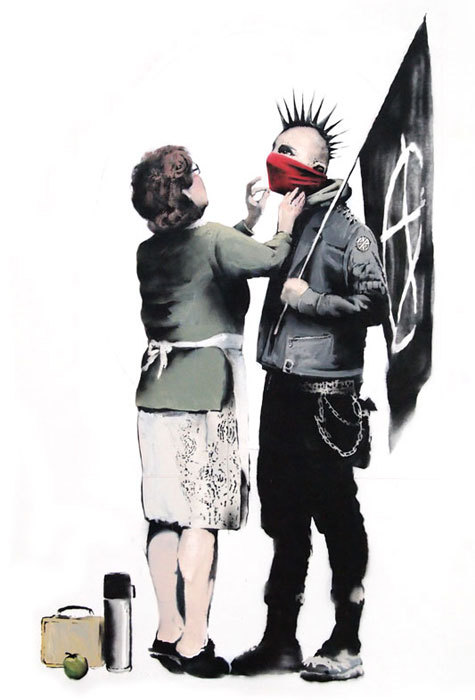 This is a Banksy piece, sorry I couldn't provide a click-through link.  Needed some good ol' Bansky on here, though.