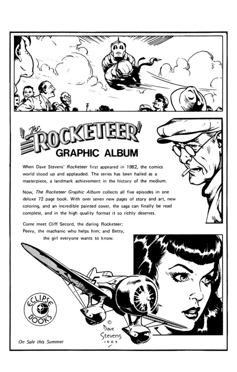 Promotional ad for The Rocketeer graphic album by Dave Stevens, 1985.
