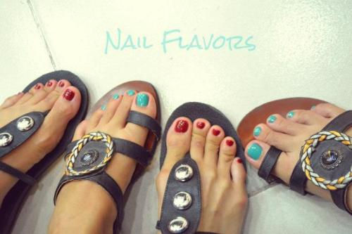 Nail Flavors ☺ http://yourlivingmannequin.blogspot.com/2012/03/getting-our-nails-done.html