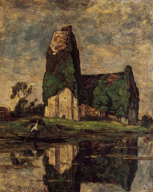 peira:  brazenswing: Eugène Boudin: Criqueboeuf, the Church (1880-1885)