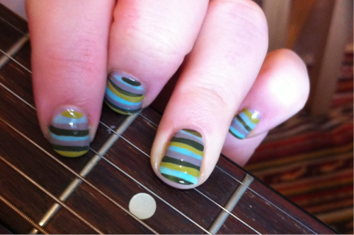 Rainy day stripes. Freehand stripes aren't as easy as they look -going to keep trying though.