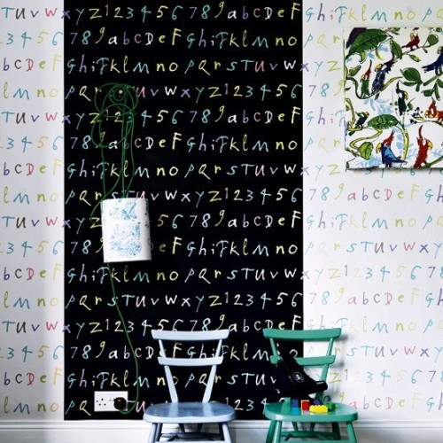 Source: House to Home  Fun walls! Lettering is a great way to spice up a wall and practical for kids :)
