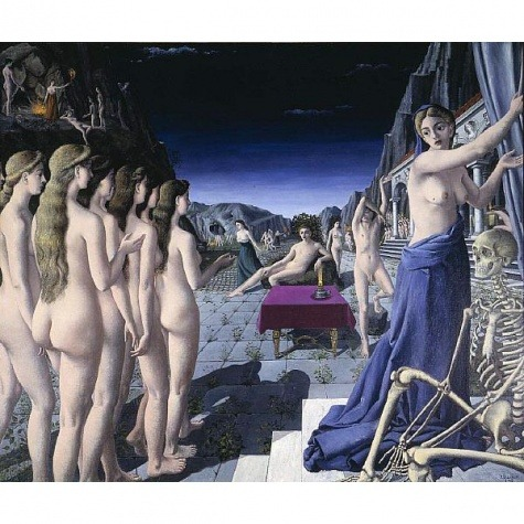 tessilu:  (Painting by Paul Delvaux:  The Fire) Still these dreams of travel. ..last night I dreamt of driving this big blue luxury car through fields on fire, all the colors of the sun and stars, so iridescent and glowing.  I kept going forward even when they leapt into the road. ..   Beautiful and mesmerizing, the lush greenery on either side of the car. ..with those dancing rainbow flames…