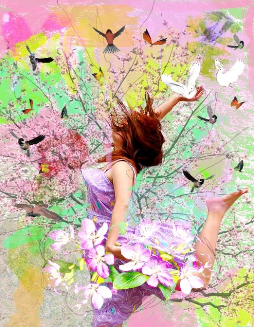 """Spring Feelings""WomanSome of the color splattersBlossomsBirds, butterflies and tree (this artwork was made when people were still allowed to use them for off-DeviantART publications!)"