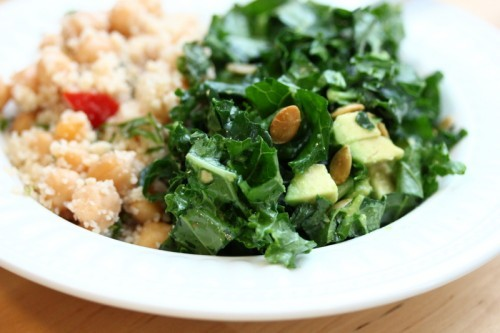 prettybalanced:  Kale and Avocado Salad with Chickpeas and Couscous