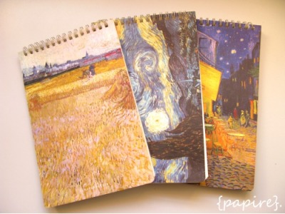 Van Gogh Notepads  Designs (From Left):   Harvest | Starry Night |  Café Terrace  Type: Notepad Dimensions: A5; 14 * 21cm 48 Ruled Pages Ring Bound on the Top Thick card stock cover  We're so glad that we managed to find these lovely notepads that depict some of the more famous paintings of Vincent Van Gogh that everybody loves! 3 Designs available  SGD$4.50 each   Details: