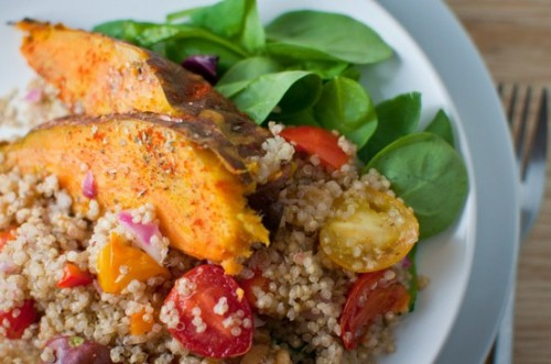 prettybalanced:  Sweet Potato Wedges with Quinoa Salad