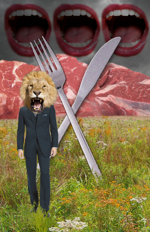 Pro Vegan digital collage by Kat Wesely