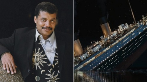 "elyseexplosion:  the-star-stuff:  Neil deGrasse Tyson is behind the only major technical change in theTitanic re-release  It took James Cameron 60 weeks to prepare Titanic for its rerelease, but apart from remastering the original at 4k resolution and converting it to stereoscopic 3D, nothing about the movie has really changed. Well, almost nothing. According to Cameron: ""Neil deGrasse Tyson sent me quite a snarky email saying that, at that time of year [April 15, at 4:20 am], in that position in the Atlantic in 1912, when Rose is lying on the piece of driftwood and staring up at the stars, that is not the star field she would have seen."" ""And with my reputation as a perfectionist, I should have known that and I should have put the right star field in. So I said 'All right, send me the right stars for that exact time and I'll put it in the movie.'"" So Tyson did just that, and Cameron re-shot the scene. According to the Telegraph , it is the only major technical change in the film's re-release.   I cannot contain the love I have for Neil deGrasse Tyson.  Seriously.  I listened to him telling Stephen Colbert this story and nearly peed myself laughing. I shall link to it again for everyone's pleasure."