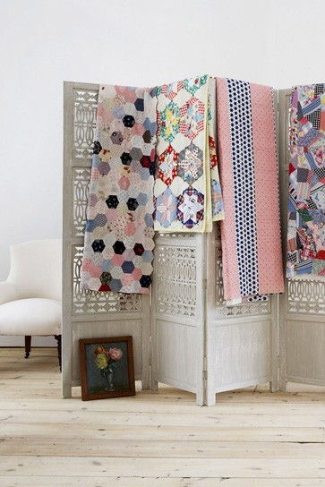 firsthome:  madly in love with the hexagon quilt on the left… will someone please make me a quilt?!