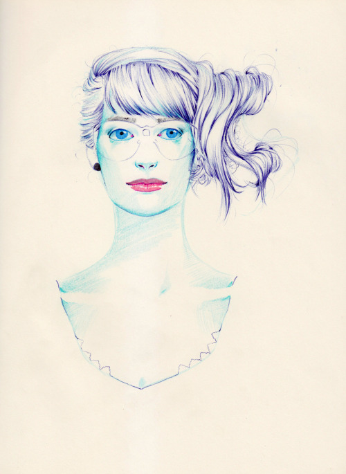 fatma-sketchbooking:  Blue Ballpoint Pen + Prismacolor pencils + Staedtler Fineliners. Available on society6