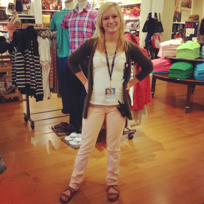 This is Emily! She's wearing American Eagle skinny jeans in pink($49), layered 2 American eagle tanks($15.50 each but usually BOGO 50 % off) and American Eagle Sandals for $24.50!The sweater is her own! Isn't she just so cute.  I totally work at American Eagle !