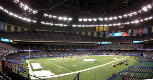 24. Louisiana Superdome (Mercedes-Benz Superdome) New Orleans, Louisiana, USA Built: 1975 - Capacity: 76,468 Home of the New Orleans Saints and Tulane Green Wave, and the annual Sugar Bowl and New Orleans Bowl. Host of five NCAA Final Fours, including the 2012 Final Four. Attendance for the 2012 semifinal was 73,361. The stadium acted as an emergency shelter during Hurricane Katrina in 2005. During the storm, the roof began peeling and the field level was flooded. The stadium was not used again until the Saints' home opener in 2006. Photo by Steve Driskell. Post-Katrina photo from Melanie Innis.