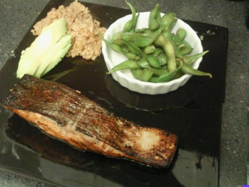 A delicious meal of pan seared salmon with ginger\soy marinade, edamame, brown rice, and avocado. Avocado is that perfect food to pair with fish or chicken when you want something creamy but need to skip fatty dairy rich foods for an evening. You can slice the avocado and place it on the side or even blend it with some herbs and spices (cilantro, lime, and black pepper perhaps) for an awesome sauce.