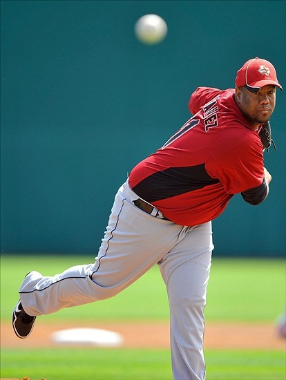 mlboffseason:  On Friday, March 30 Liván Hernández was released from his minor league contract by the Houston Astros. So the enterprising Hernández drove 15 miles northwest and stopped at the Atlanta Braves training camp — where they signed him to a $750,000 contract stacked with performance incentives. That's a productive couple of hours. Article here. Note: I first heard the story while listening to the Cubs game on Saturday when their play-by-play team, Pat Hughes and Keith Moreland, brought it up and were suitably impressed. Moreland is a fantastic color guy, btw, replacing the legendary Ron Santo. (Image is copyright Brad Barr/US-Presswire, March 8, 2012, and courtesy of tomahawktake.com)