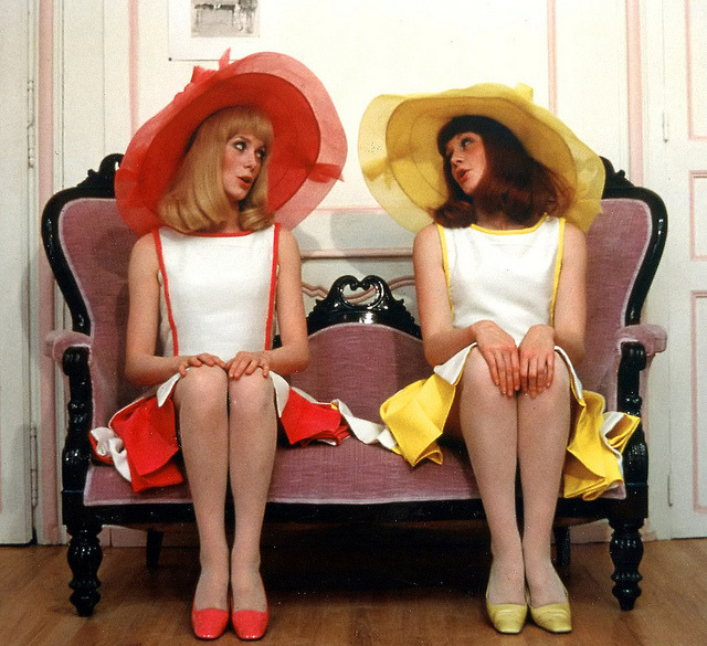 Catherine Deneuve and (sister) Francoise Dorleac wearing hats by Jean Barthet in the film Les Demoiselles de Rochefort, 1967