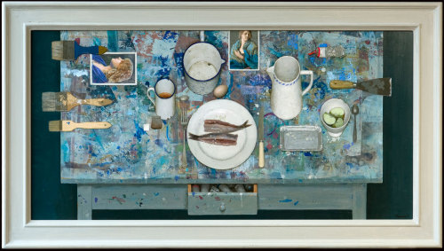 "Kenne Gregoire, ""Dutch Painters Table,"" Acrylic on Panel, 24"" x 48"""